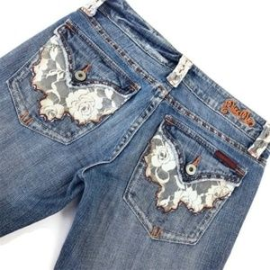 Miss Me Jeans Flare Lace Festival Distress Boho 27
